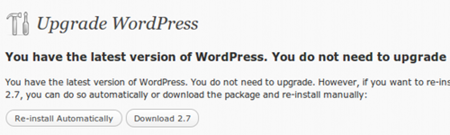 Wordpress 2.7 - Upgrade