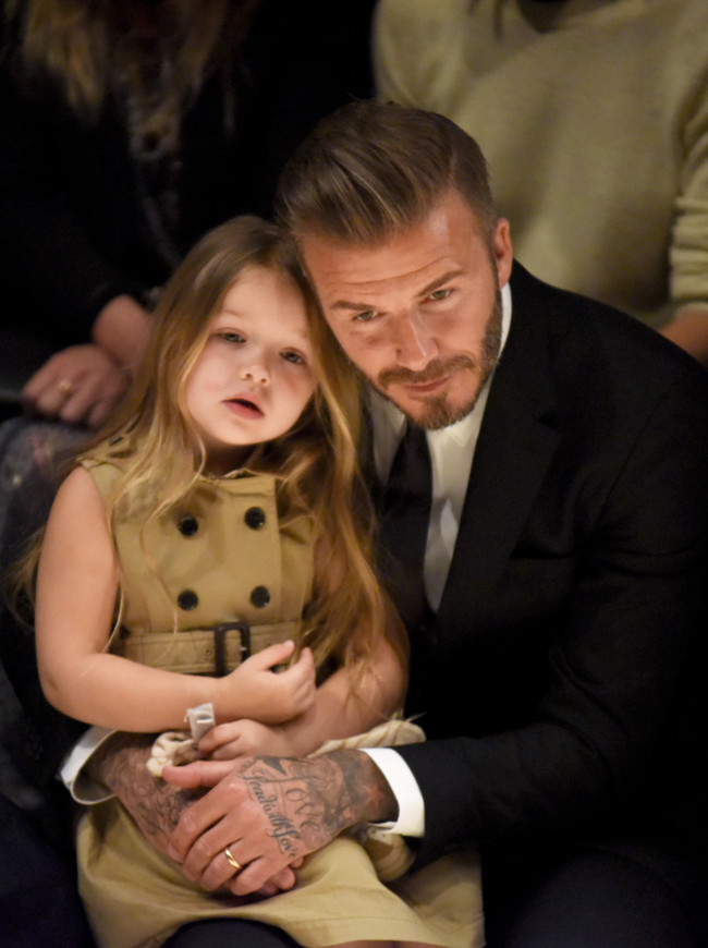 David And Harper Beckham On The Front Row At The Burberry London In Los Angeles Event
