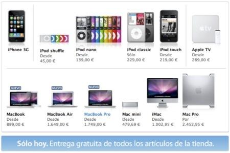 Envíos gratuitos en la Apple Store online, sólo durante hoy