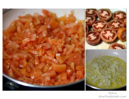 Lubina con tomate concassé.Pasos