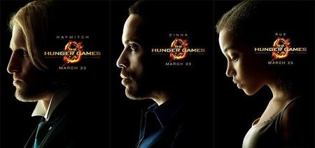 Carteles de los personajes de Haymitch, Cinna y Rue de Los juegos del hambre