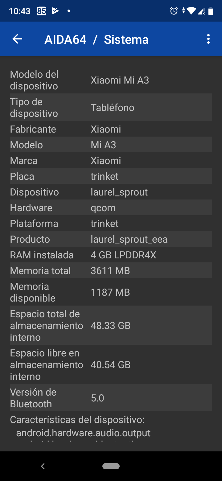 Benchmarks del Xiaomi Mi A3
