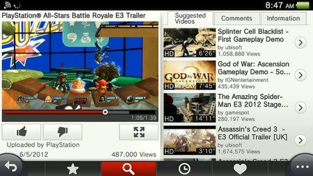 La aplicación de Youtube para el PS Vita ya está disponible