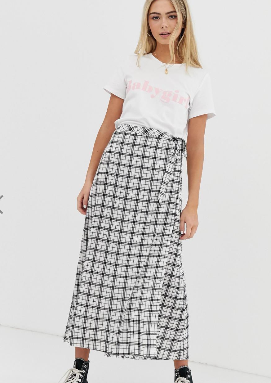 Falda larga con diseño cruzado y estampado de cuadrícula de Nobody's Child