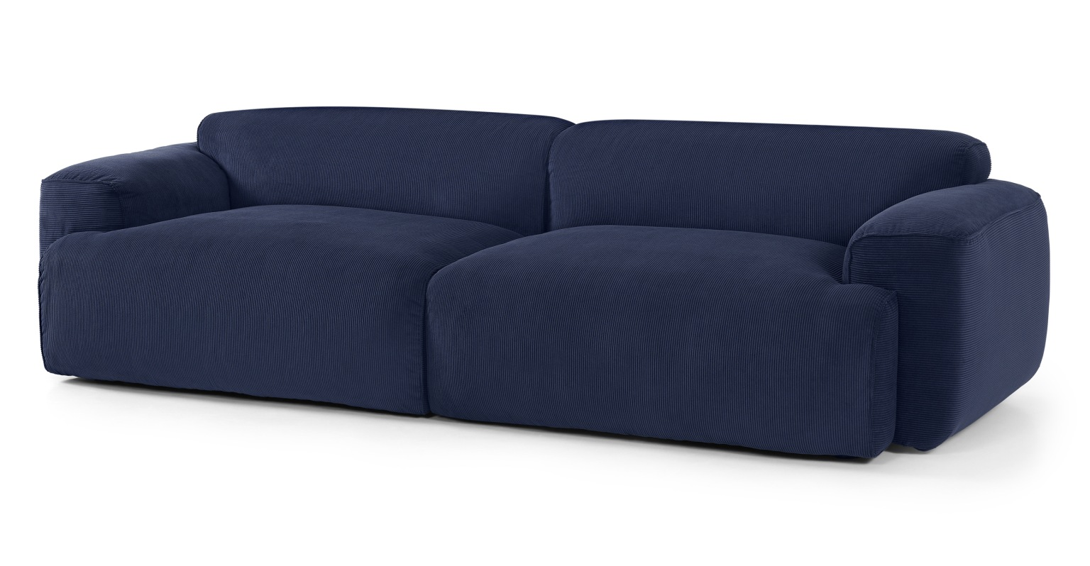Sofá de 3 plazas Avalon, terciopelo de pana azul marino