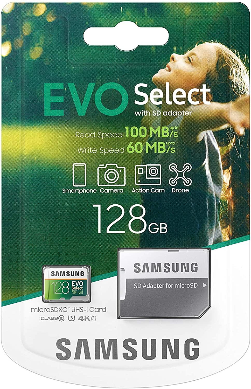 SAMSUNG: EVO Select 128 GB MicroSDXC UHS-I U3 100 MB/s Full HD & 4K UHD Tarjeta de Memoria con Adaptador
