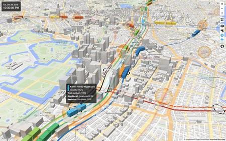 Este hipnótico mapa 3D alojado en GitHub te muestra el metro de Tokio en tiempo real gracias a datos abiertos