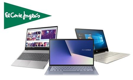 Ofertas en portátiles en El Corte Inglés: hasta 150 euros descuento en modelos de HP, ASUS, Acer o LG