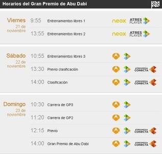 Gran Premio de Abu Dhabi de Fórmula 1: horarios