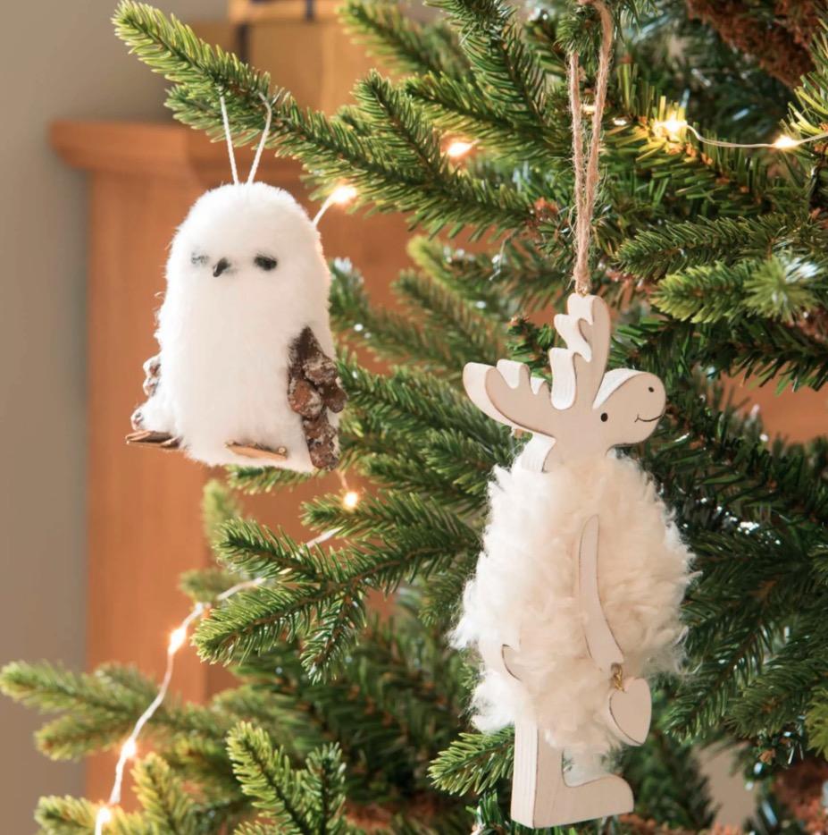 Adorno de Navidad con búho de imitación a piel blanca