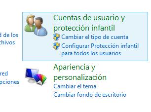 Panel de control cuentas de usuario
