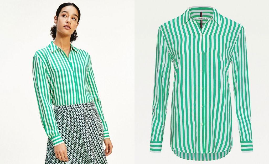 Blusa fluida de mujer con forma de camisa y manga larga