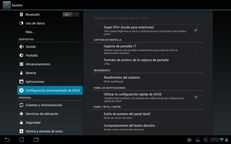 Android 40 en Transformer Infinity