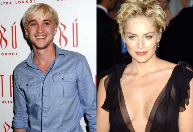 Tom Felton y Sharon Stone