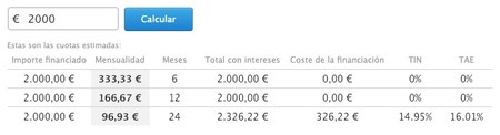 Calculafora Financiacion Apple