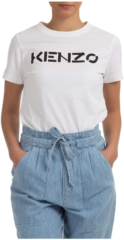 Camiseta Blanca de Mujer con Logo Kenzo