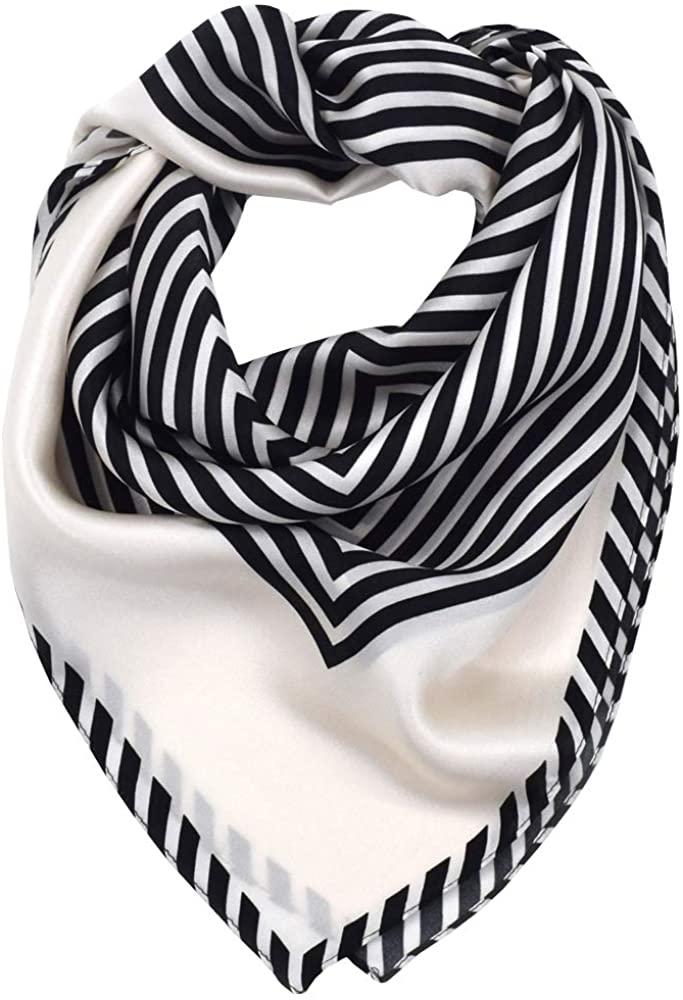 Bufanda Mujer Cuadrado 100% Satén de Seda Pañuelos Cuello L 70 * 70cm,Rayas negras