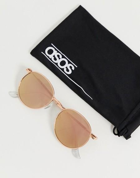 Gafas de sol redondas de metal en dorado rosa con lentes flash estilo años 90 de ASOS DESIGN