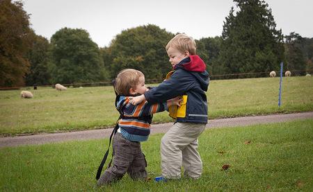 Pelea de niños en el parque