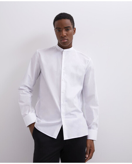 Camisa De Hombre Regular Liso En Blanco