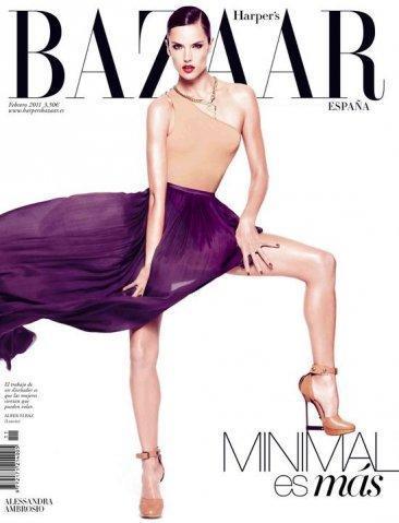 Alessandra Ambrosio en la portada de febrero 2011 de Harper's Bazaar