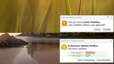 Extensions Update Notifier muestra una notificación cada vez que se actualiza una extensión de Chrome