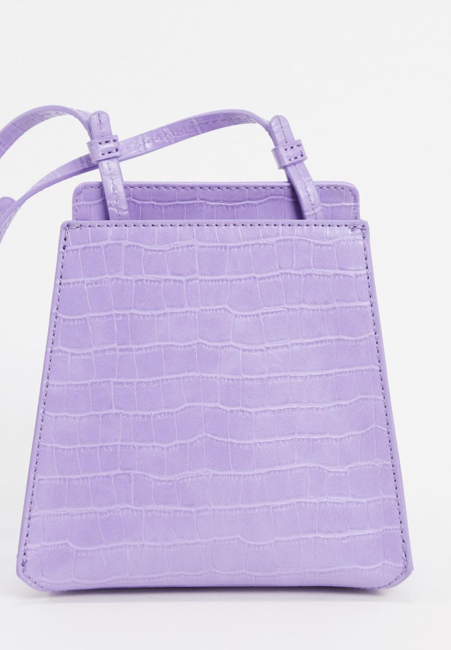 Bandolera estructurada en violeta cocodrilo Peyton de Who What Wear