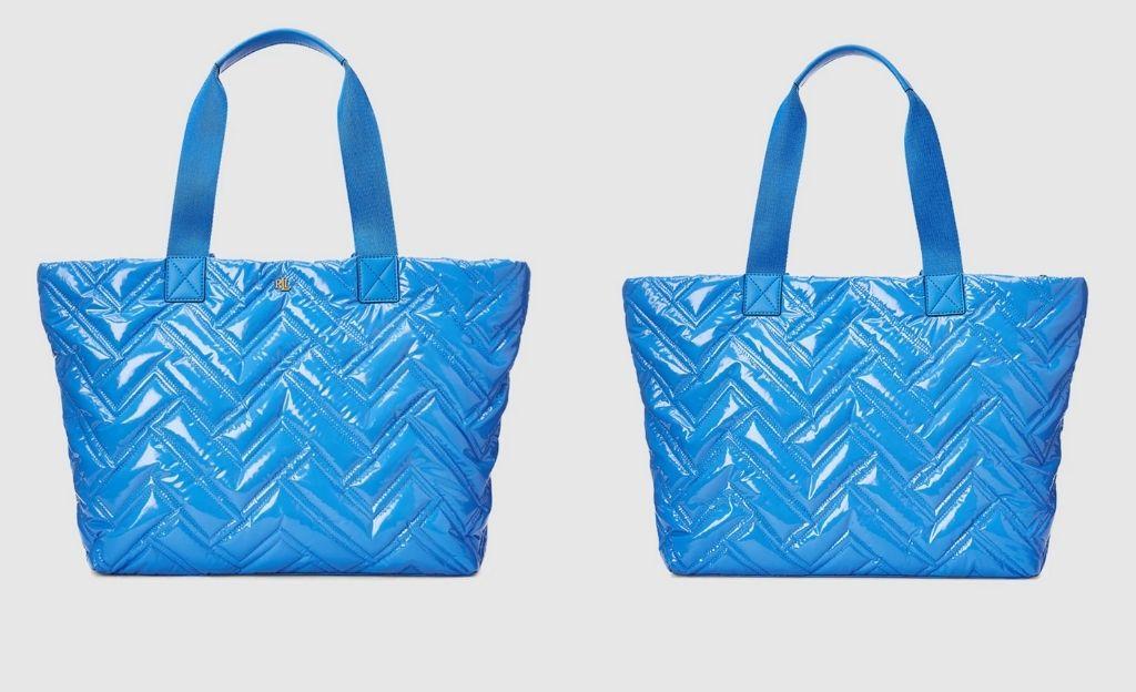 Tote grande Lauren Ralph Lauren de nylon acolchado en azul con cremallera