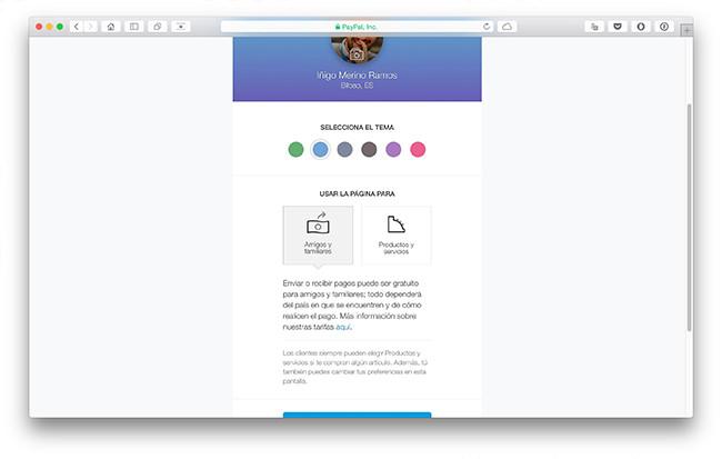 Paypal Me - Configuración del perfil