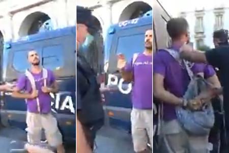 """Este hombre sin mascarilla que grita """"habeas corpus"""" tiene razón: no pueden detenerle por no llevarla"""