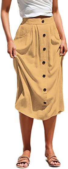 Anikigu Mujer Falda A Line Botón Delantera Midi Faldas de Bolsillo Elegante Básica