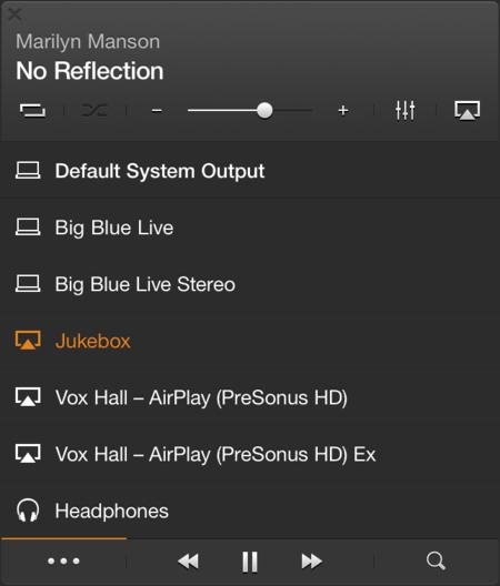 Opciones de redirección de audio mediante AirPlay
