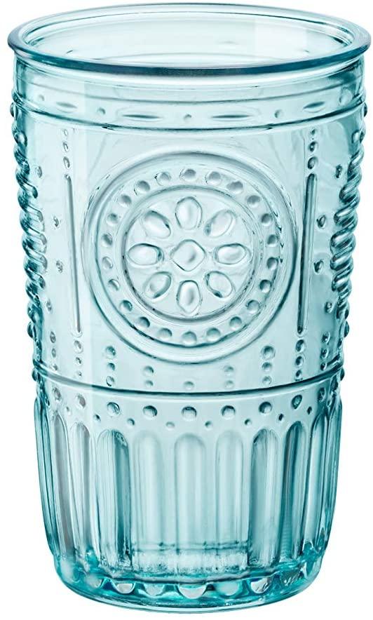 Bormioli Rocco 090789 Romantic-Juego de 4 Vasos de Cristal, Color, 34 cl, Vidrio, Azul Claro