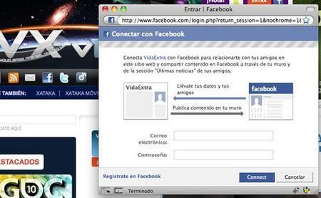 Conéctate a Vidaextra con tu cuenta de Facebook