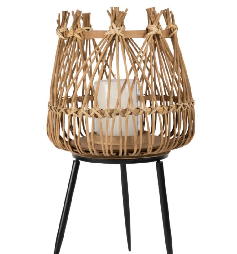 Farolillo de bambú trenzado y soporte de metal Woody