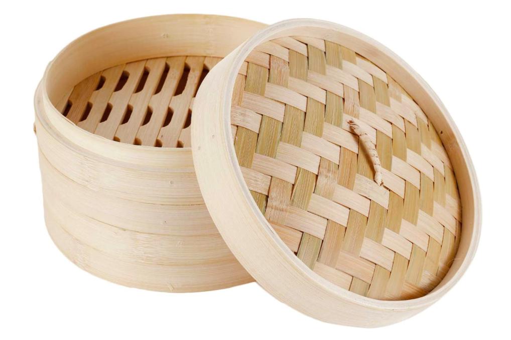 HANHAN Vaporera de bambú natural, cesta de cocción a vapor con 2 niveles con tapa, ideal para raviolis, verduras y tamaño sum (15 cm)