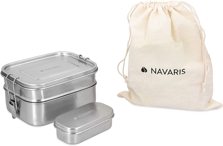 Navaris Fiambrera de Acero Inoxidable para Comida - 3X Envase hermético en 3 tamaños - Recipiente Rectangular de 1400 ML - Lunch Box de Metal