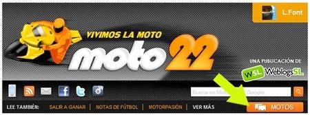 Cabecera de Moto22 con acceso directo al listado de motos