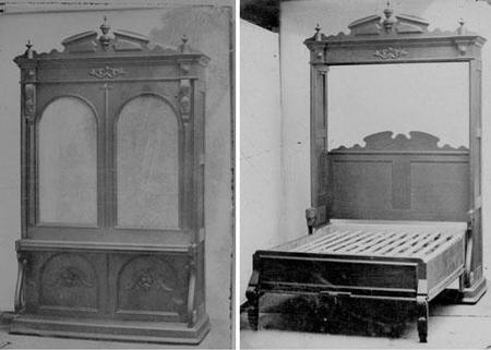 Una cama abatible de 1870 que se encuentra en el museo de Artes Decorativas de Brooklin.