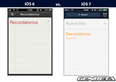 iOs 6 vs iOs 7 - recordatorios