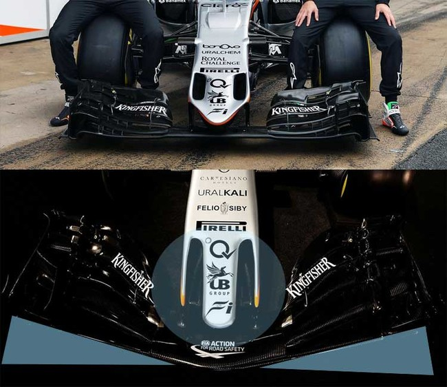 Sahara Force India VJM10, comparación