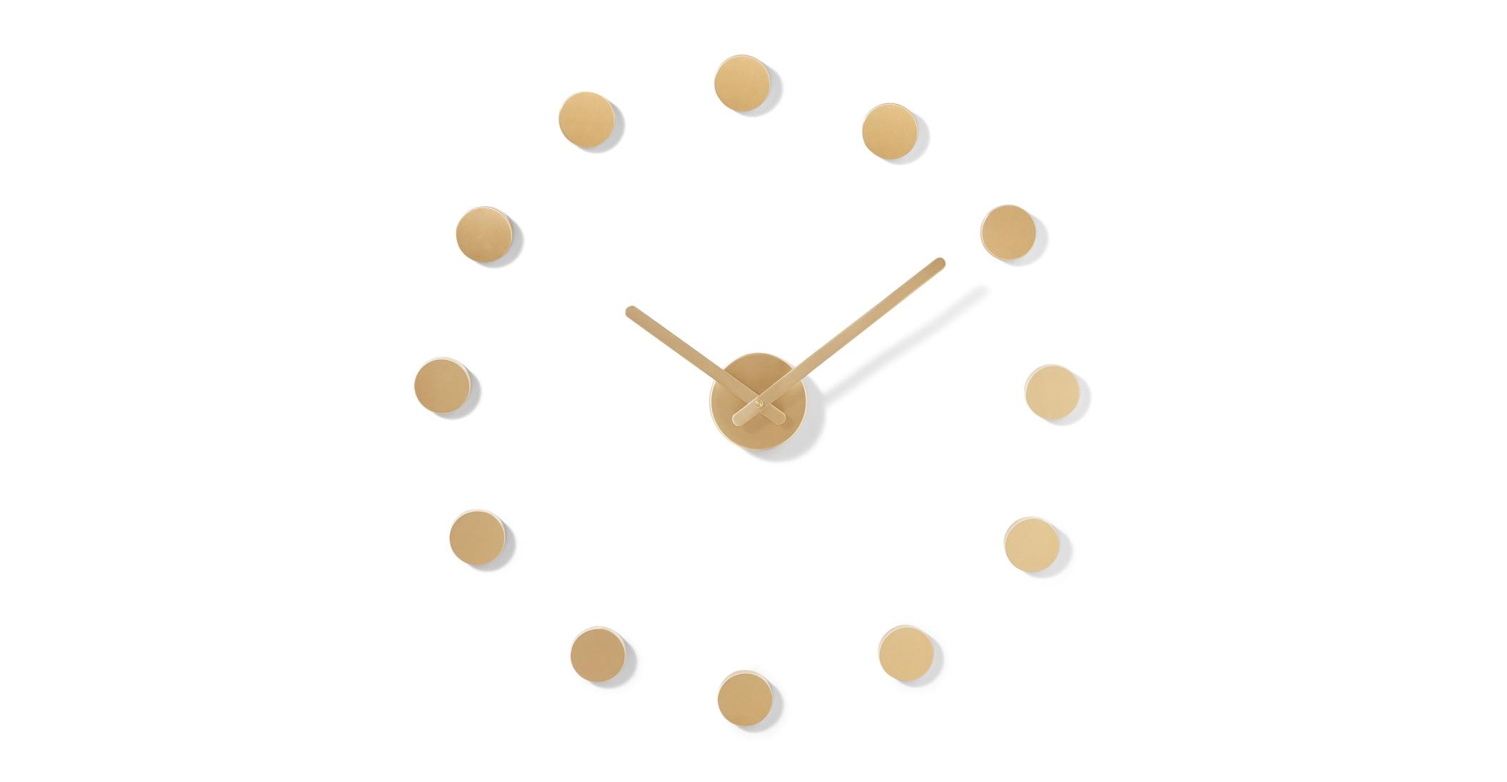 Reloj de pared DIY con marcadores circulares Rani, latón cepillado
