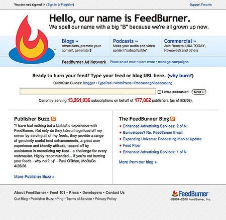 Página principal de FeedBurner en torno a 2006.