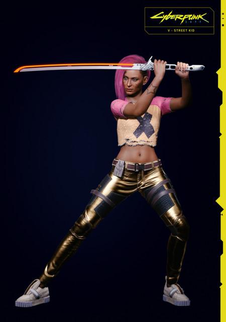 Cyberpunk 2077 V Female Street Kid Action Rgb