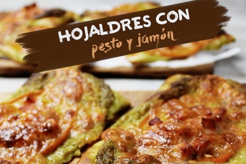Hojaldres con pesto y jamón. Receta de botana en video