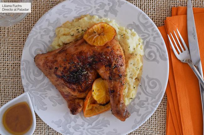 Pollo al horno glaseado con mandarina, vermut y miel