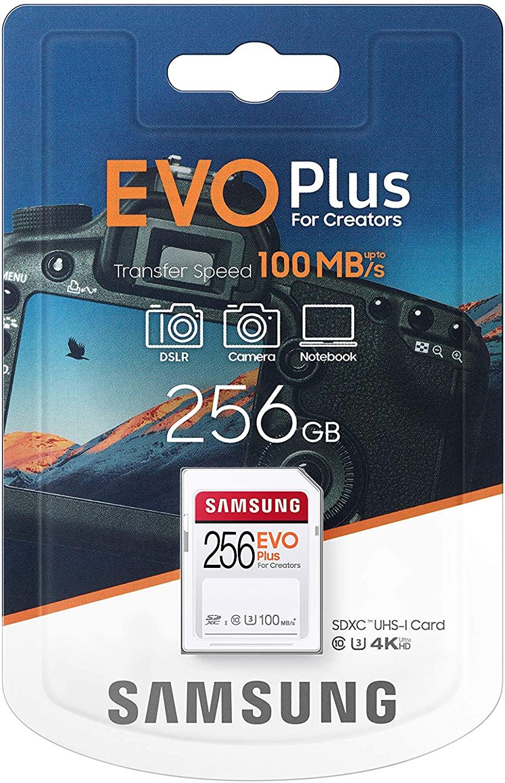 Tarjeta SD Samsung EVO Plus de 256 GB, U3 Clase 10