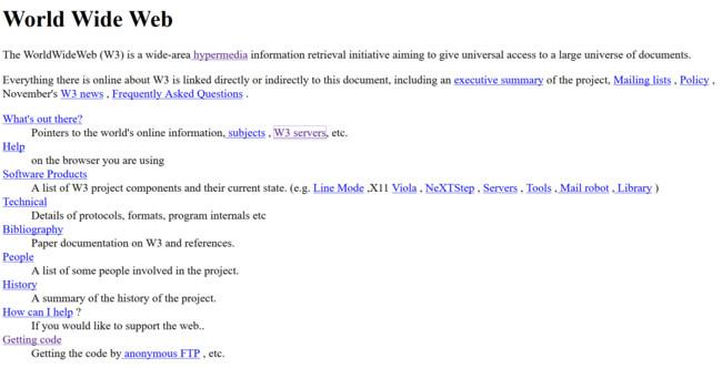La primera página de la World Wide Web era así de sencilla, y acaba de cumplir 25 años