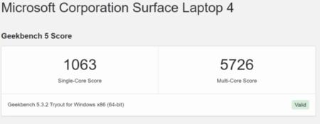 Geekbench Surface Laptop 4