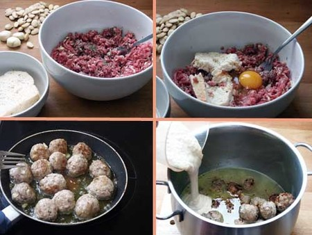 Receta de albóndigas con salsa de almendras, elaboración